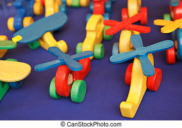 Wooden toys - Colorful wooden toys on blue fabric