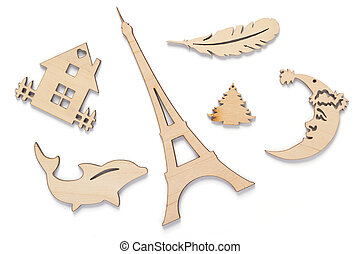 wooden toys isolated on white