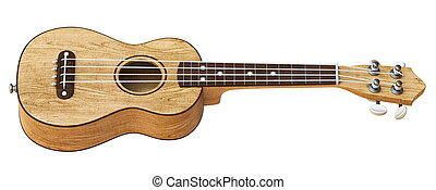 Wooden traditional soprano ukulele Side view 3D