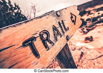 Wooden Trail Sign Closeup Photo.