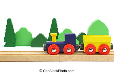 Wooden train on the railroad