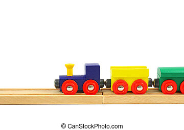 Wooden train toy on rails isolated