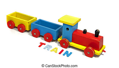 wooden train with letters