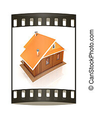 Wooden travel house or a hotel. The film strip