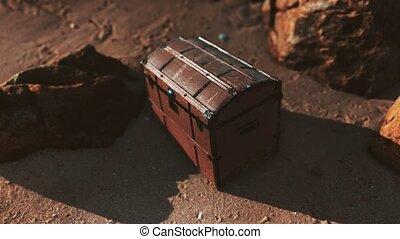 Wooden Treasure Box On The Beach