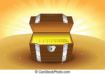 A vector illustration of a wooden treasure chest with gold inside