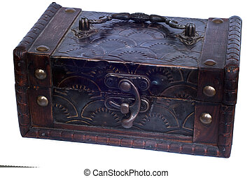 Decorative wooden treasure chest for storage of small things