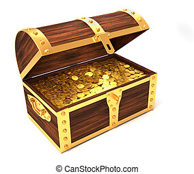 Wooden treasure chest with gold coins printed with royal...