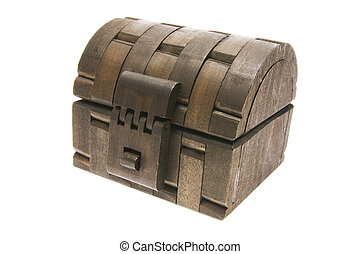 Wooden Treasure Chest on White Background