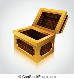 Wooden treasure chest on white background.