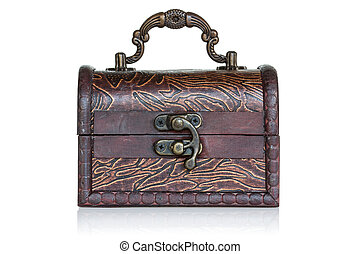 Wooden treasure chest over a white background