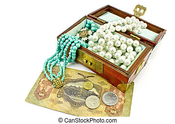 Wooden treasure chest with jewelry and money