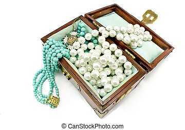 Wooden treasure chest with jewelry