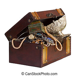 wooden treasure trunk with jewellery, isolated over white background