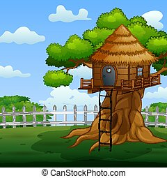 Wooden treehouse in the garden illustration
