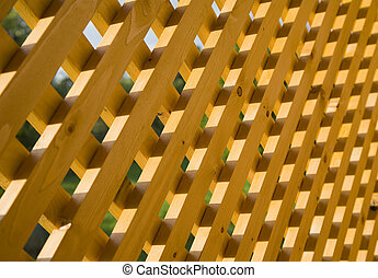 Wooden trellis in sunlight