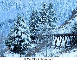 Wooden Tressle in Snowscape - Old wooden tressle crossing...