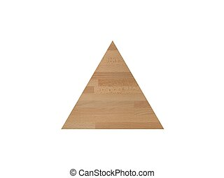 A wooden triangle shot on a white background