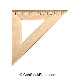 wooden triangle is isolated on a white background