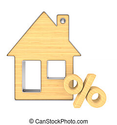 Wooden trinket house and percent on white background....