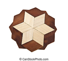 Wooden trivet on a white background