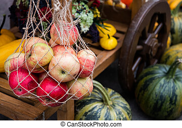 Wooden trolley with autumn fruits. The autumn harvest festival is an old cart with pumpkins, apples, grapes and plums. Landscape design in country style for the autumn season