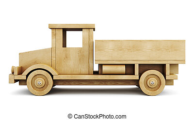 Wooden truck side view. 3d.