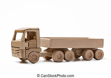Wooden truck side view isolated on white background. 3d.