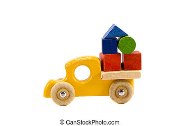 wooden truck toy with colorful blocks