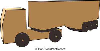 Wooden truck with a trailer on a white background.