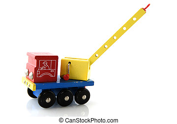 wooden truck with crane