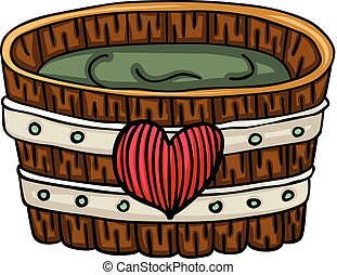 Wooden tub for a bath with heart