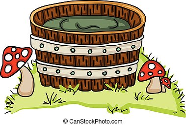 Wooden tub for a bath with mushrooms