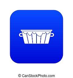 Wooden tub icon digital blue