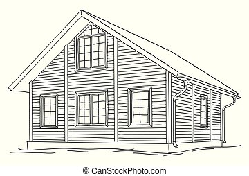Wooden two-story house. Vector drawing isolated on white ...