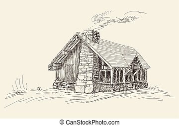 Wooden two-story house. - Wooden rural house with a stone ...