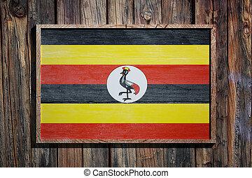 Wooden Uganda flag
