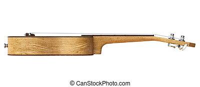 Wooden ukulele Side view 3D