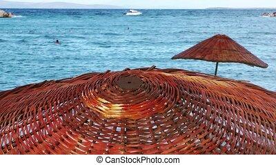 Wooden Umbrella near the seaside