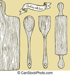 Wooden utencil in vintage style, vector roling pin, cutting...