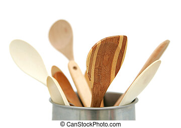 wooden utensils - closeup of a group of wooden kitchen...