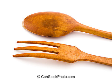 Wooden utensils spoon and fork. With clipping path