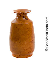 Wooden Vase over white