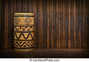 wooden vase with a pattern