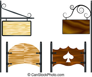 wooden billboards - Wooden vector blank wooden billboards ...