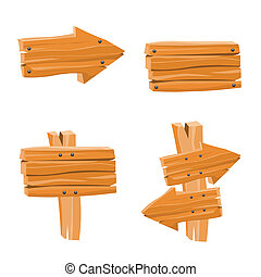 Wooden Vector Signs - Vector Set with Wooden Signs