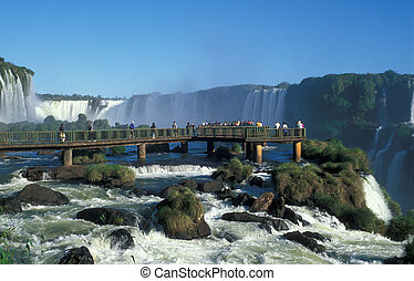 Iguacu Falls - Wooden viewing platform at Iguacu Falls,...