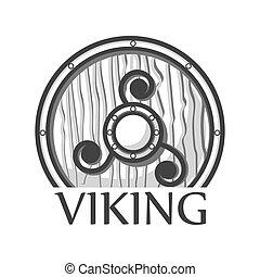 Wooden Viking shield - Vector illustration of wooden...