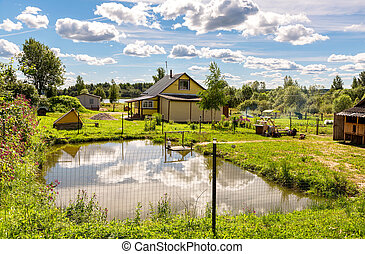 Wooden village house with outbuildings and small pond in summer sunny day