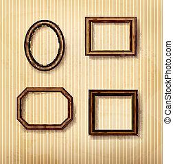 Wooden vintage frames on old wall. Vector illustration.
